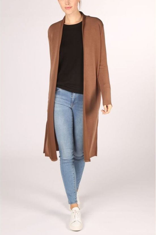 Yaya Cardigan Basic Clean Jersey Marron Chameau
