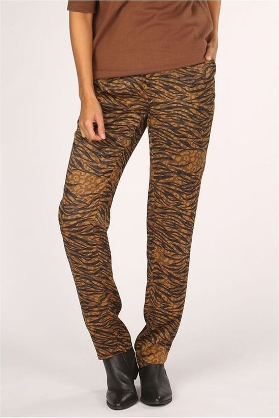 Yaya Trousers Flowy Animal Print Dark Brown/Ass. Flower