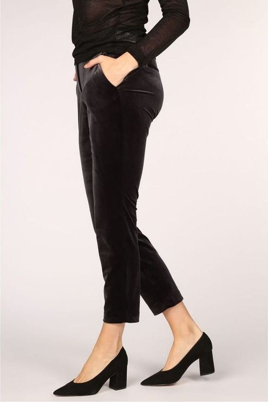 Yaya Broek Velours Relaxed Relaxed Donkerblauw