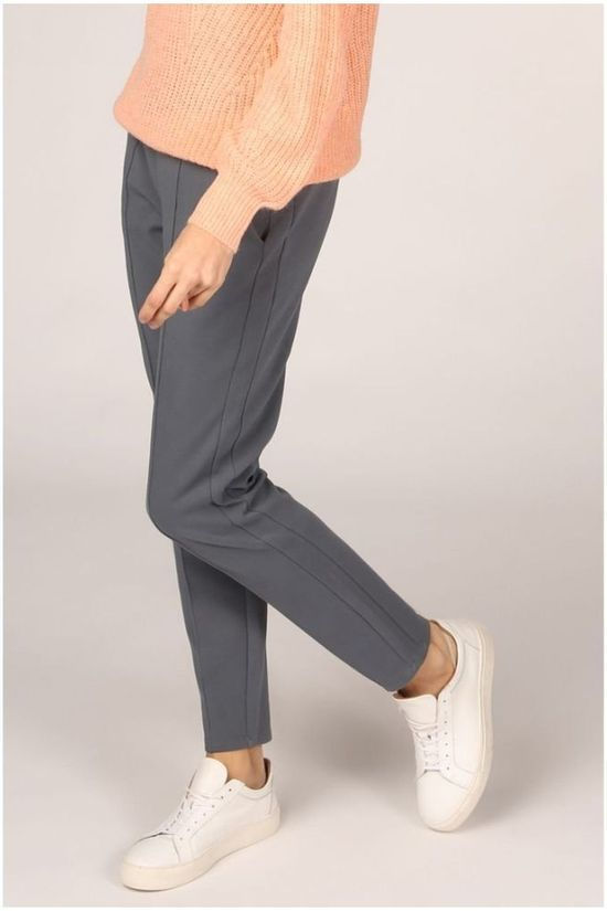 Yaya Pantalon Cotton Blend With Pockets And Pintuck Bleu Moyen