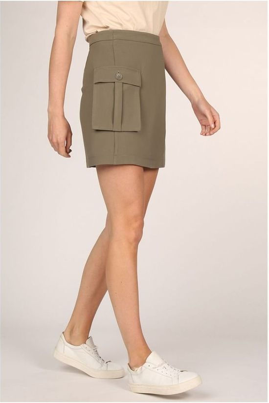 Yaya Rok Faux Wrapped Mini Cargo Pockets Donkerkaki