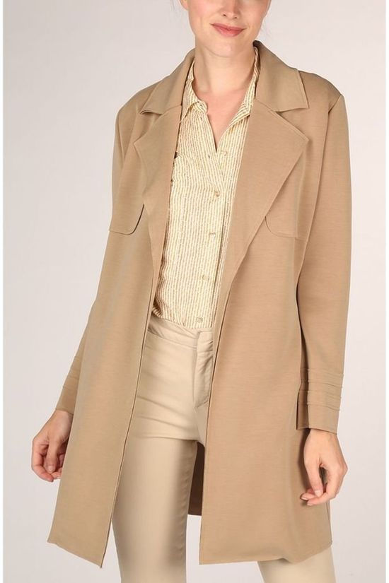 Yaya Manteau Jersey Trench Coat With Raw Edge Brun Sable