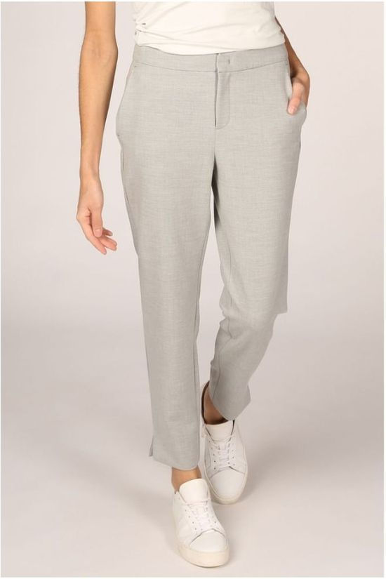 Yaya Trousers Slim With Small Splits On Sides Light Grey Mixture