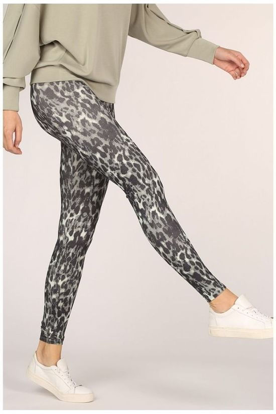 Yaya Legging Stretch Large Waistband Middengrijs/Zandbruin