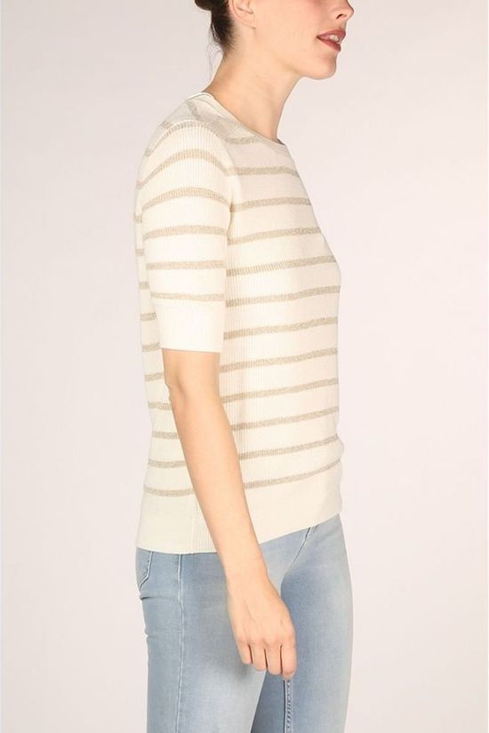 Yaya Pullover Lurex With Striped Print white/gold
