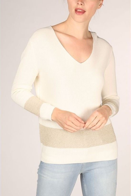 Yaya Pullover Lurex With ed Detail On Back off white