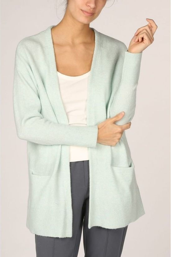 Yaya Cardigan Alpaca Blend With Front Pockets light green