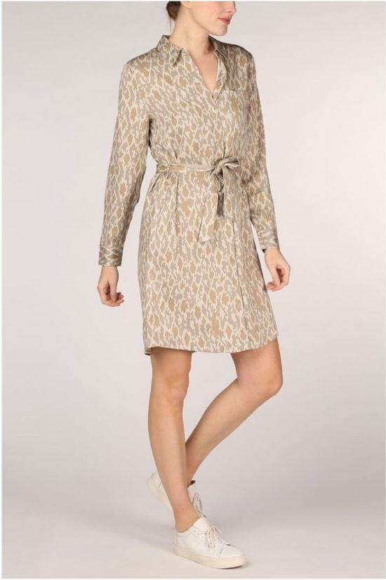Yaya Robe ed Button Up Midi With Snake Print Ecru/Brun Sable