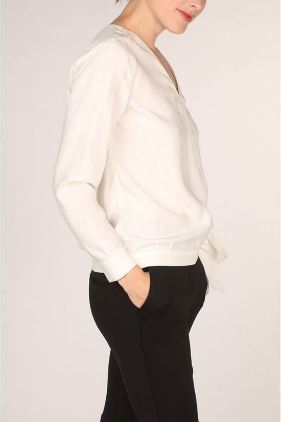 Yaya Blouse Modal Faux Wrapped With ed Detail Blanc