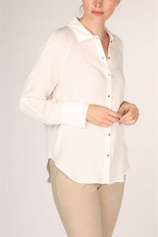 Yaya Chemise With Double Collars And Cuffs Blanc Cassé