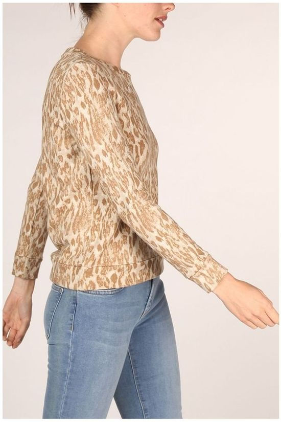 Yaya Pull Round Neck With Animal Print Ecru/Brun Sable