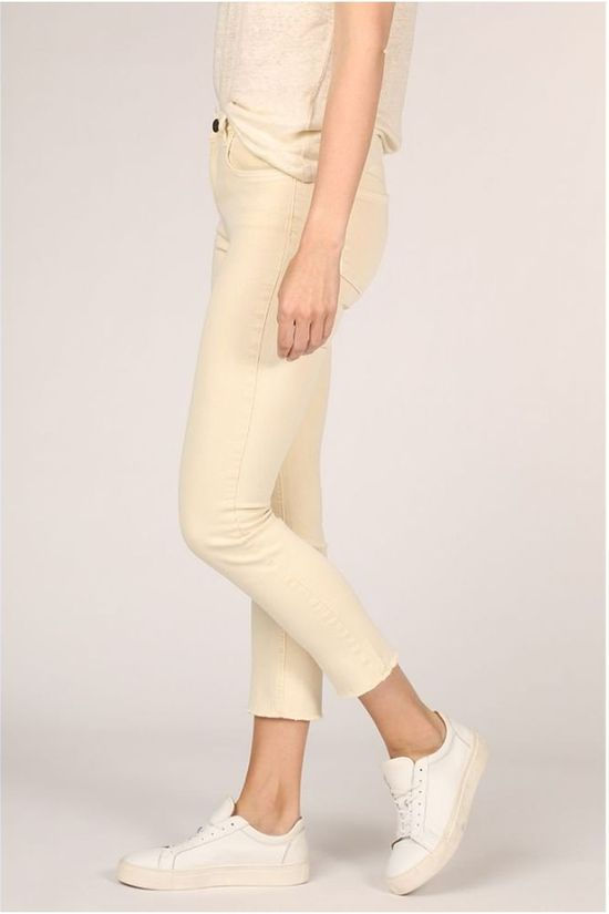 Yaya Jeans Colored With Frayed Hems And Print On Waistband light yellow