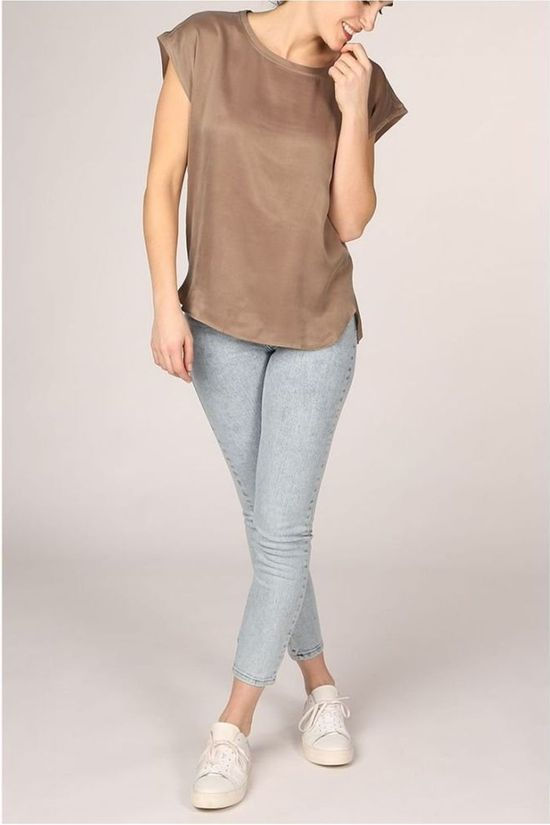 Yaya T-Shirt Fabric Mix Rounded Hems Middenbruin