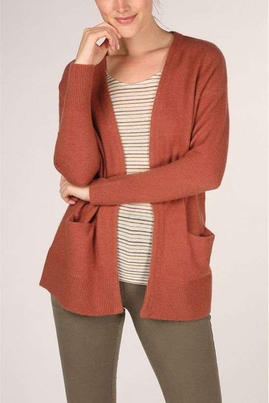 Yaya Cardigan Alpaca Blend With Front Pockets Rouge Foncé
