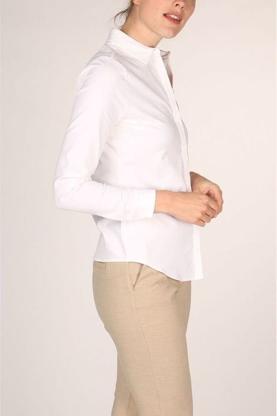 Yaya Shirt Cotton Blend With Concealed Closure white