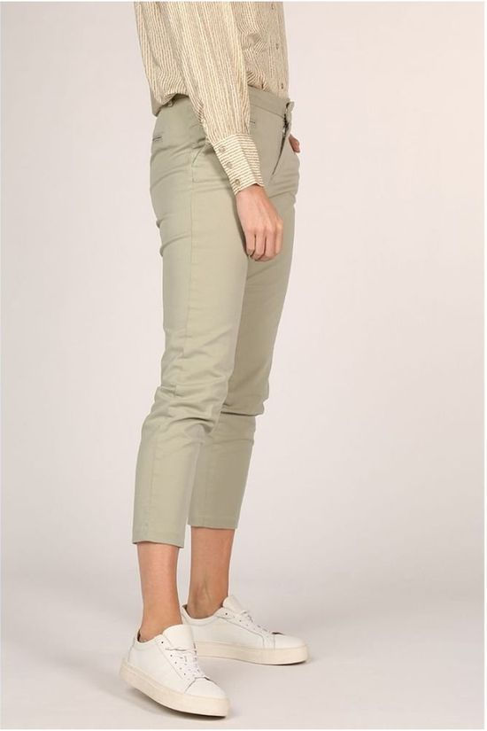 Yaya Broek Cotton Mix Chino Front Pockets Lichtgroen