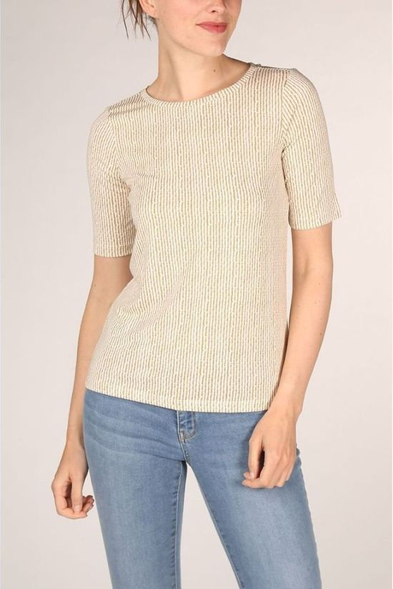Yaya T-Shirt Rounded Hems And Striped Print Gebroken Wit/Lichtgeel