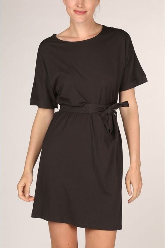 Yaya Jurk Pleated Midi Folded Cuffs Zwart
