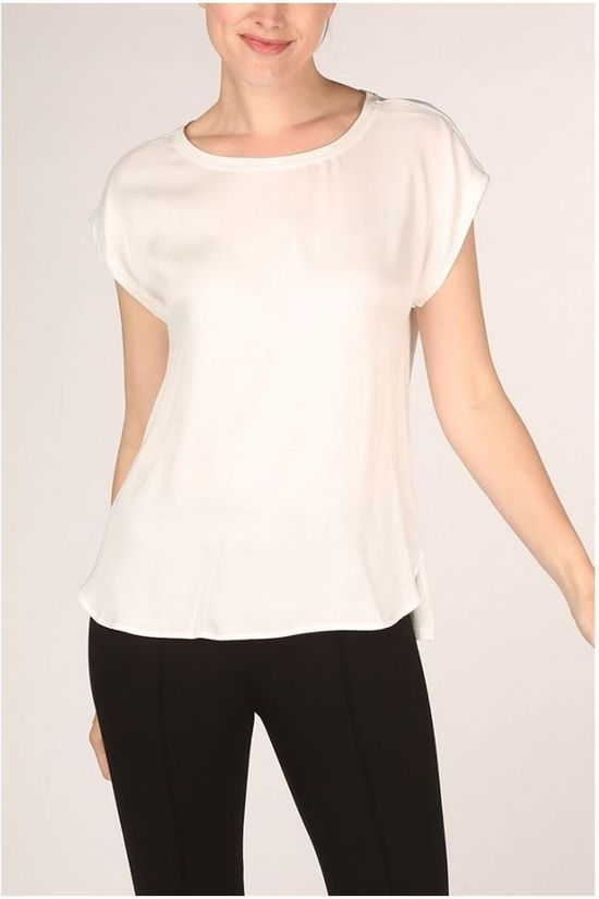 Yaya T-Shirt Fabric Mix Rounded Hems Gebroken Wit