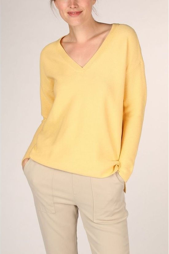 Yaya Pull Cotton Mix Ribbed With Small Splits On Sides Jaune Clair