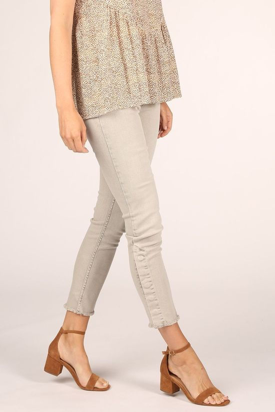 Yaya Jeans Colored Button Detail Middenkaki