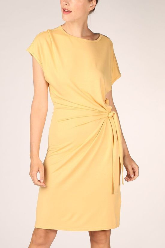 Yaya Jurk Modal With Knotted Detail Donkergeel