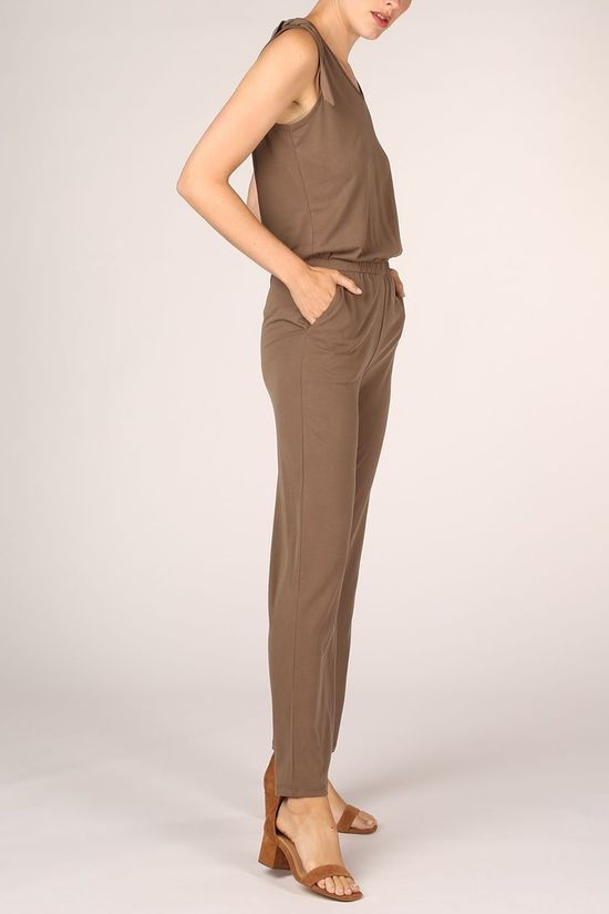 Yaya Jumpsuit Jersey Sleeveless Jumpsuit With Knotted Detail Donkerbruin