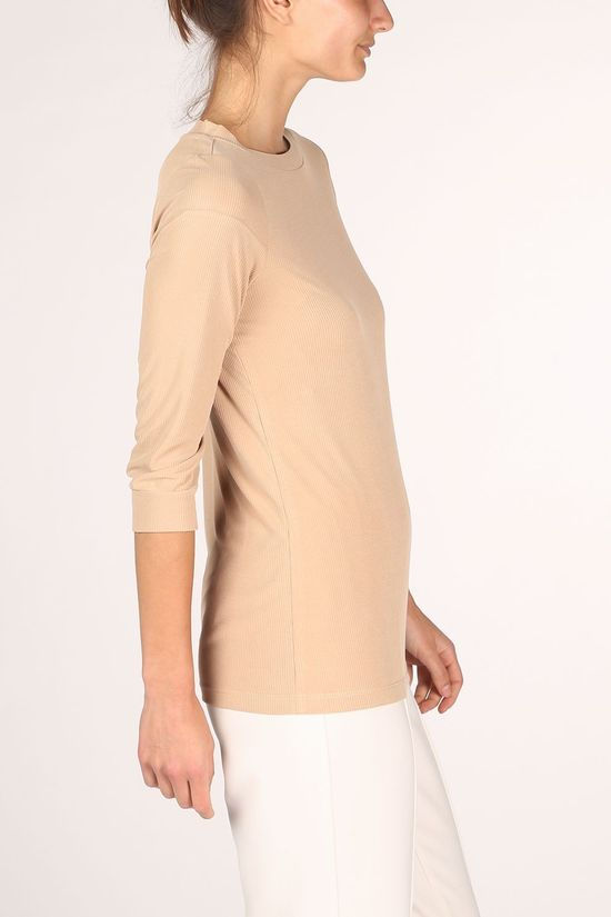 Yaya T-Shirt Ribbed With 3/4 Sleeves Brun Sable