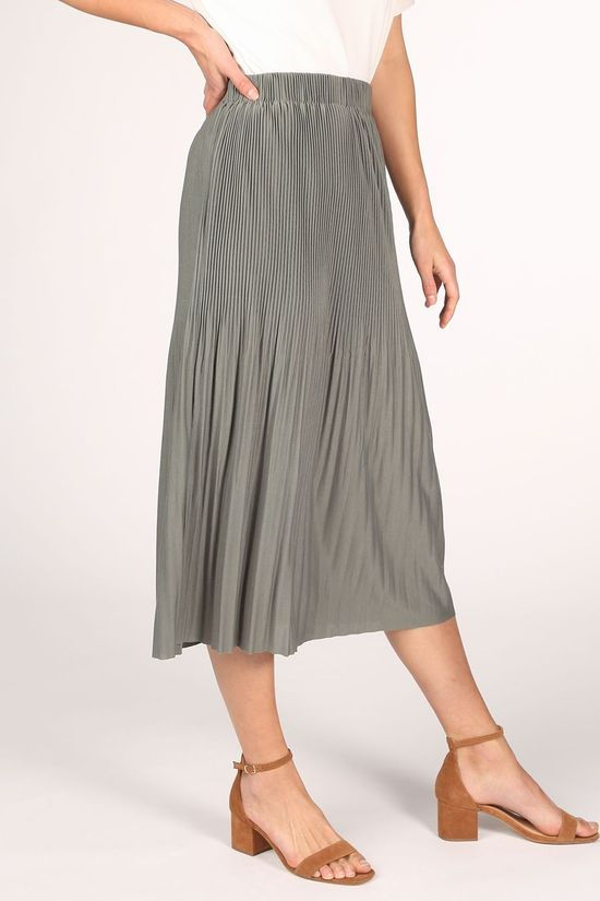 Yaya Rok Midi With Pleats Lichtgroen