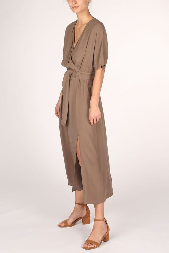 Yaya Robe Lyocell Blend With Kimono Sleeves Brun moyen