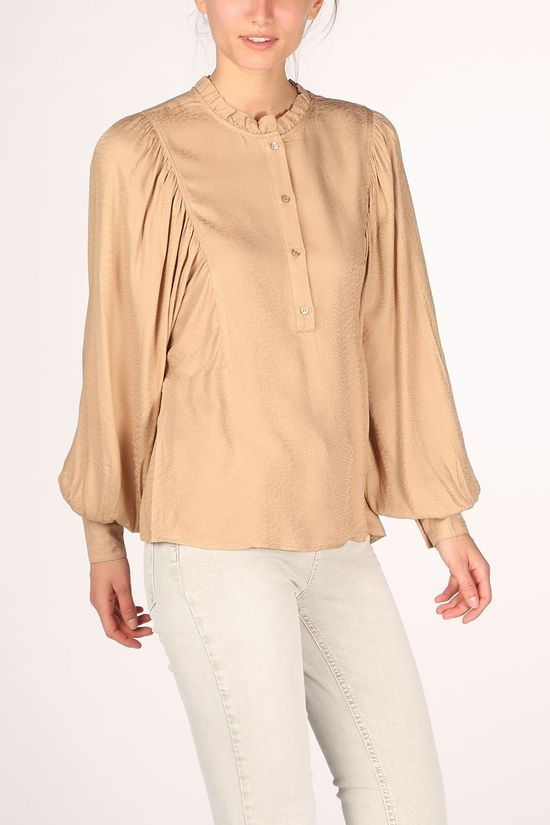 Yaya Blouse Woven With Puff Sleeves And Ruffles Zandbruin