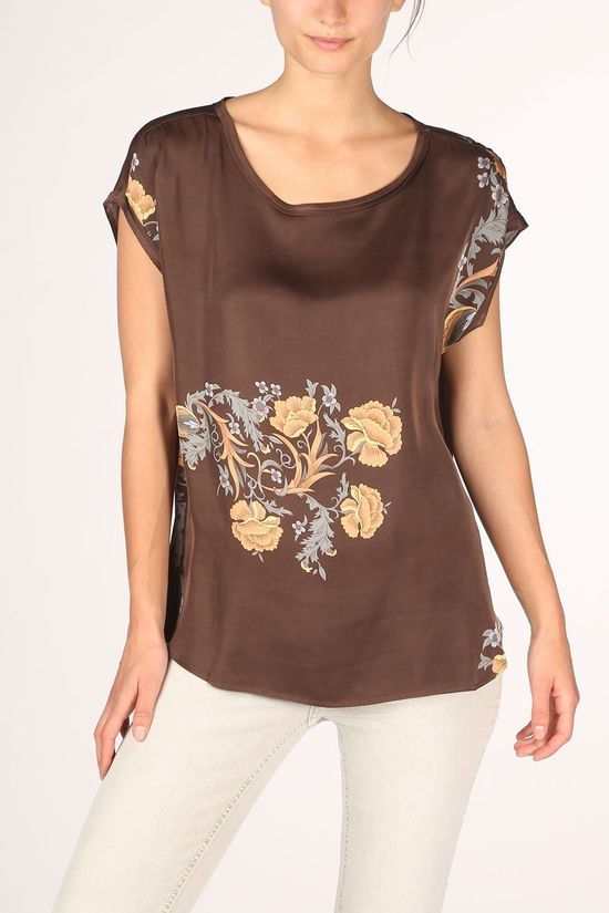 Yaya Blouse Round Neck With Print Donkerbruin/Ass. Bloem