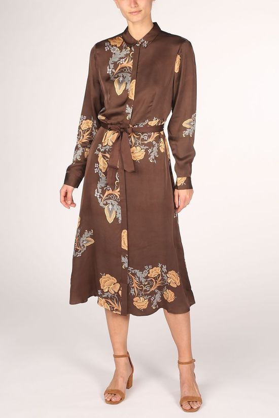 Yaya Dress Maxi Shirt With And Print Dark Brown/Ass. Flower