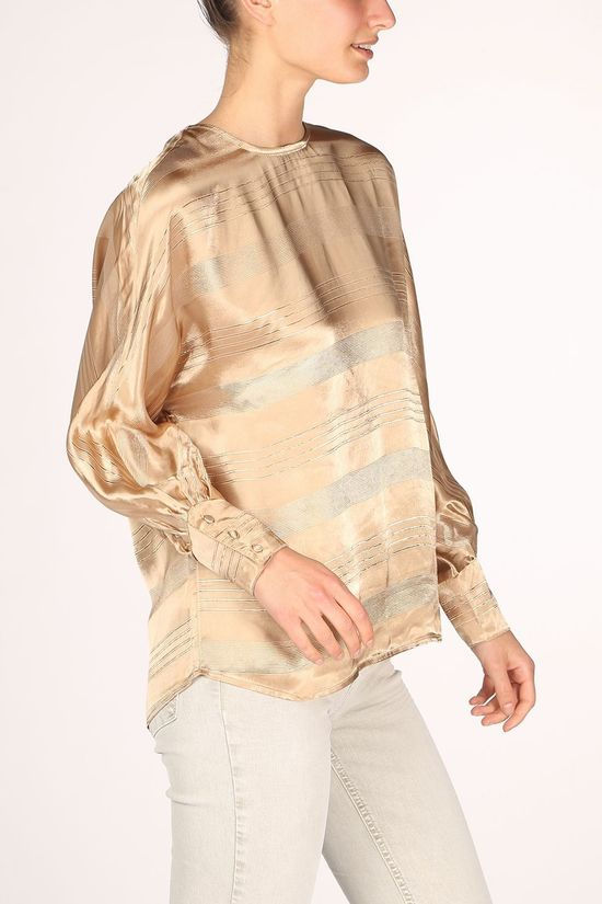 Yaya Blouse With Stripe Jacquard Zandbruin