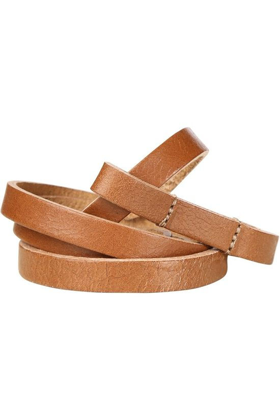 Yaya Riem Small Leather Wrap Belt Donkerbruin