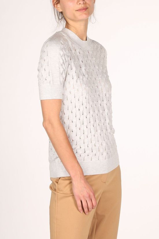 Yaya Trui Structure Knitted With Short Sleeves Lichtgrijs Mengeling