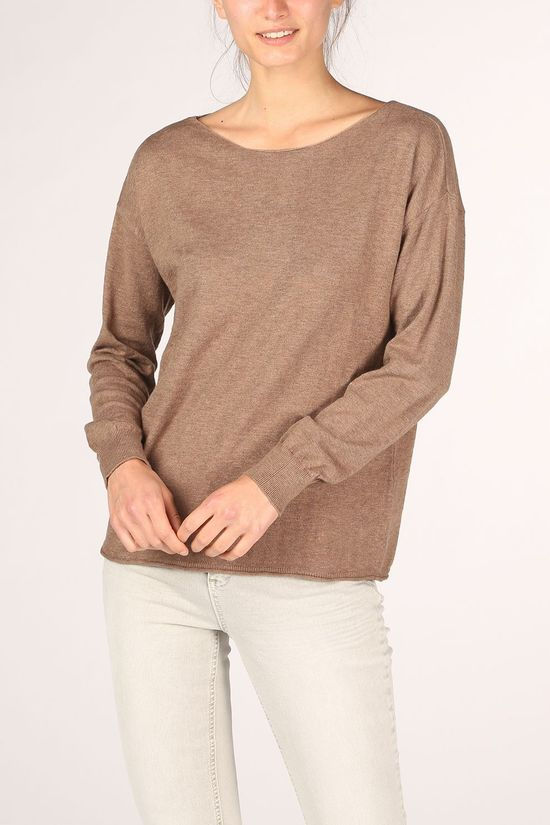 Yaya Pullover Cotton Cashmere Blend Boat Neck mid brown