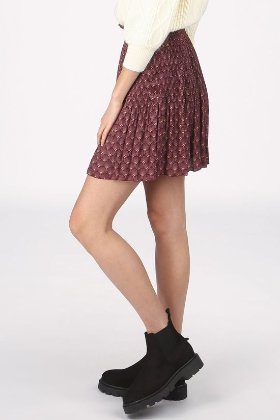 Yaya Rok Pleated Mini Skirt With Print Bordeaux / Kastanjebruin/Ass. Geometrisch