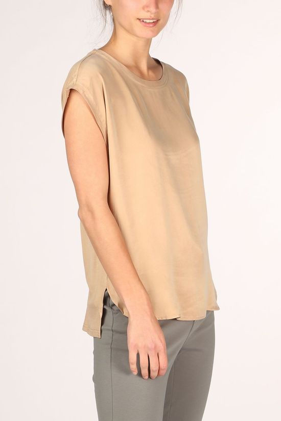 Yaya T-Shirt Fabric Mix With Rounded Hems Camel Brown