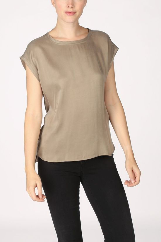 Yaya T-Shirt Cupro Blend Fabric Mix T-Shirt With Rounded Hems Vert Clair