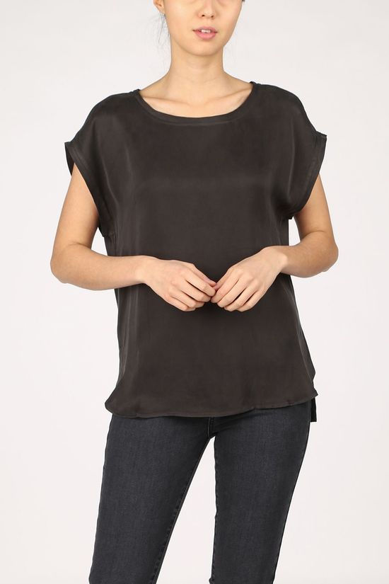 Yaya T-Shirt Cupro Blend Fabric Mix With Rounded Hems Zwart