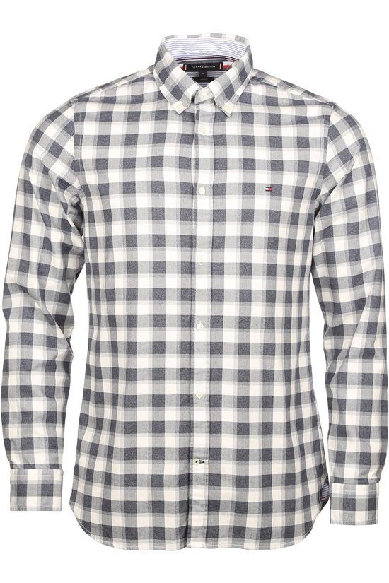 Tommy Hilfiger Shirt Slim Brushed Heather Check Shirt white/mid grey