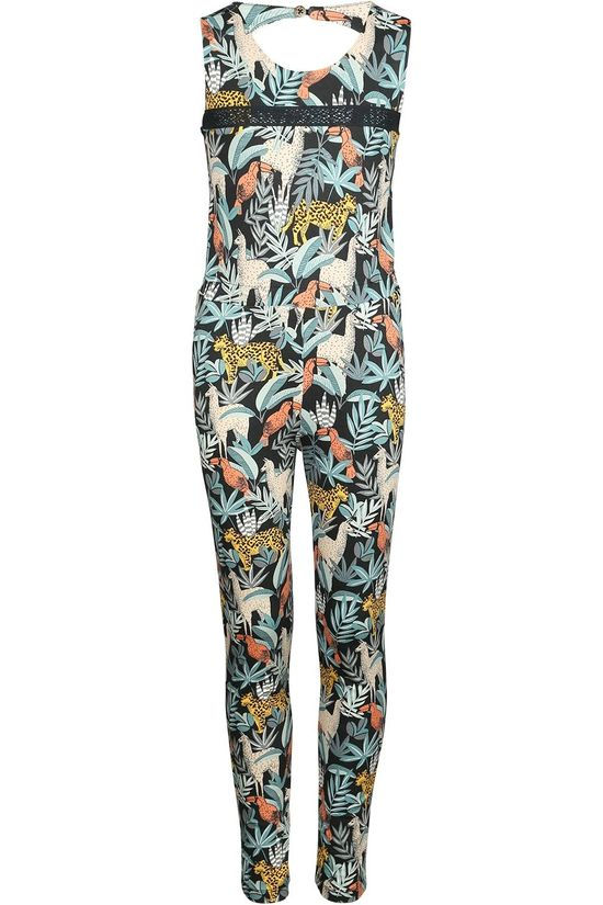 Like Flo Jumpsuit Flo Girls Ao Viscose Jersey Long Blue/Ass. Flower