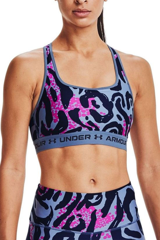 Under Armour Sports Bra Crossback Mid Print Dark Purple/Assorted / Mixed