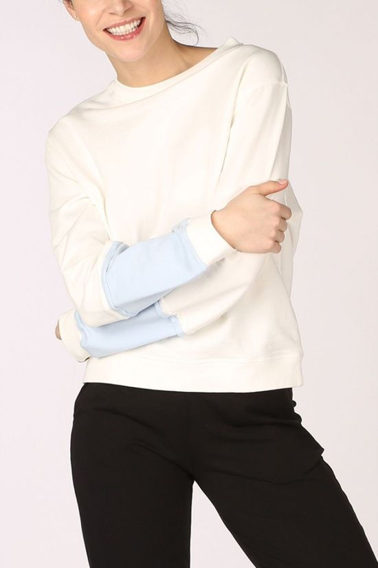 PlayPauze Pullover Hug Recto Verso Blue Sleeves off white/light blue
