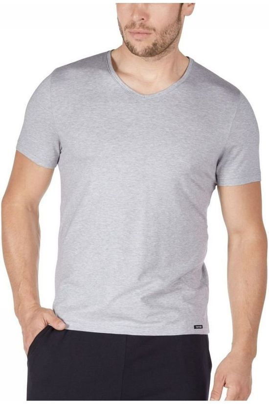 Skiny T-Shirt Mens V-neck SL Light Grey Marle