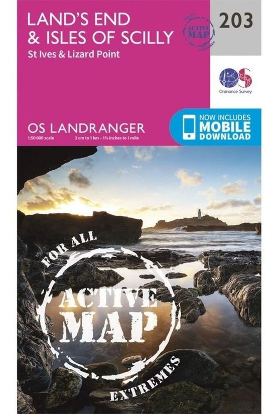 Ordnance Survey Land'S End / Isles Of Scilly Active Land 203 2016