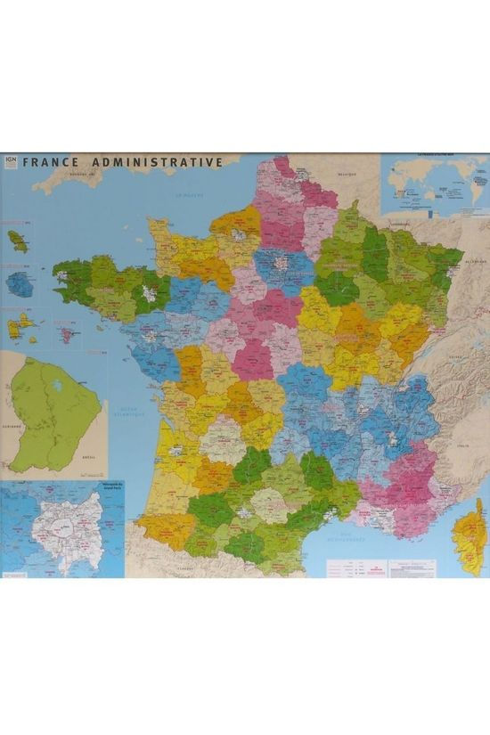 IGN France Counties & Districts Wall Map Laminated 2017