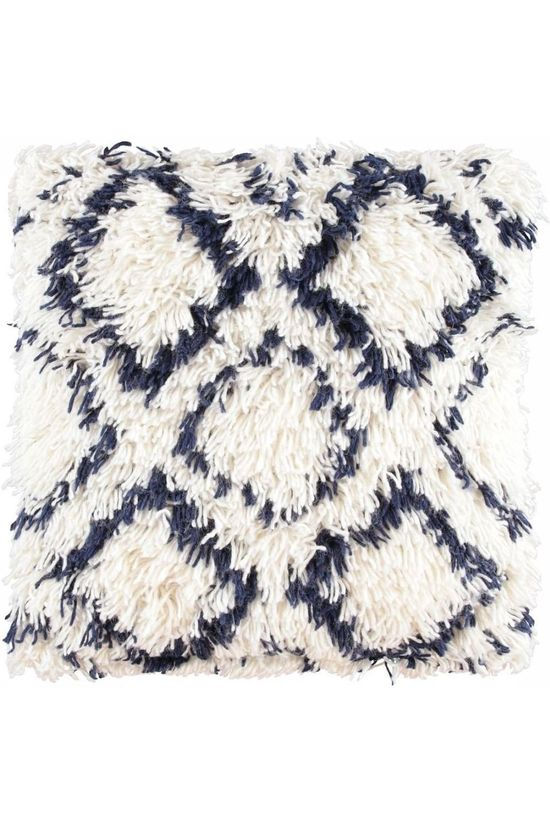 Yaya Home Tufted Mozaiek Cushion 50X50Cm Blanc/Bleu Foncé