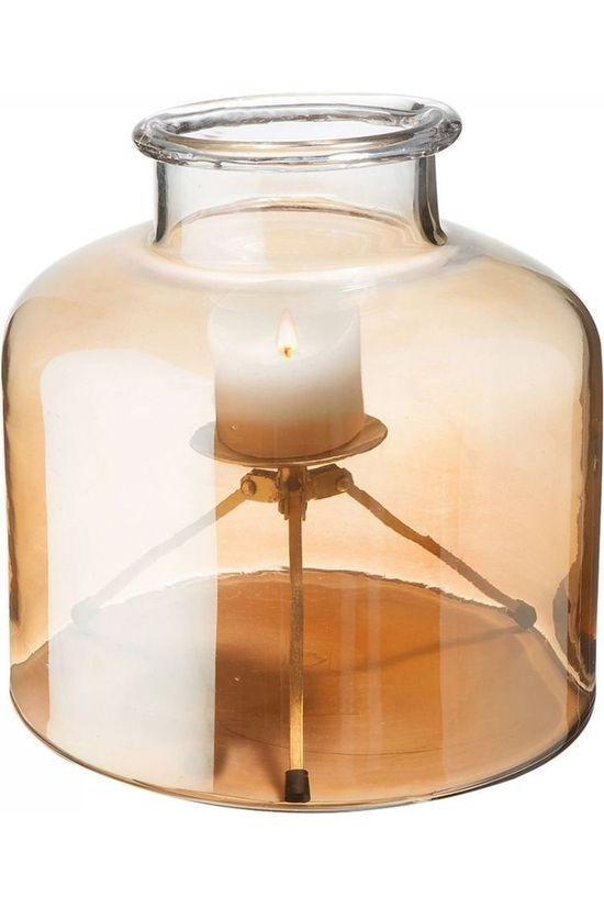 Yaya Home Glass Shielded Candle Holder Large Geen kleur / Transparant